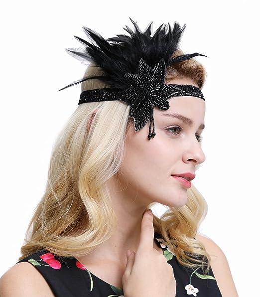 FAIRY COUPLE Negro Plata 20s Ceñido Vintage Años 20 Venda de la Diadema Gran Gatsby