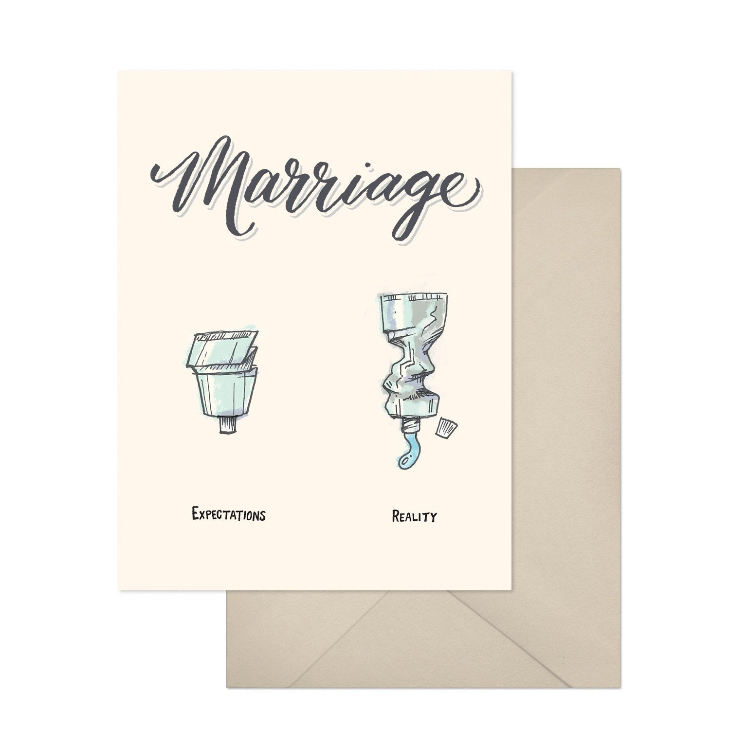 Expectations vs Reality, Funny Wedding Greeting Card, Marriage