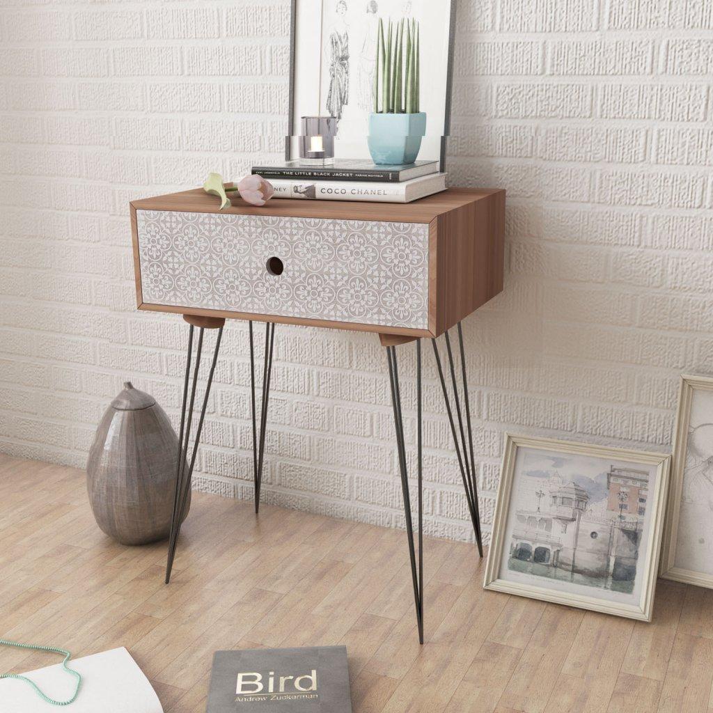 bedroom table. Anself Wood Bedside Table Units with Drawer Bedroom Cabinet Nightstand Brown Viseeko Rustic and Metal 2 Night