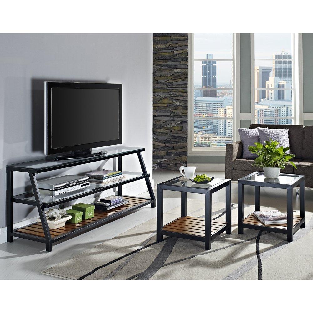 Amazoncom Glass Metal Wood Tv Stand And Coffee Table Combo