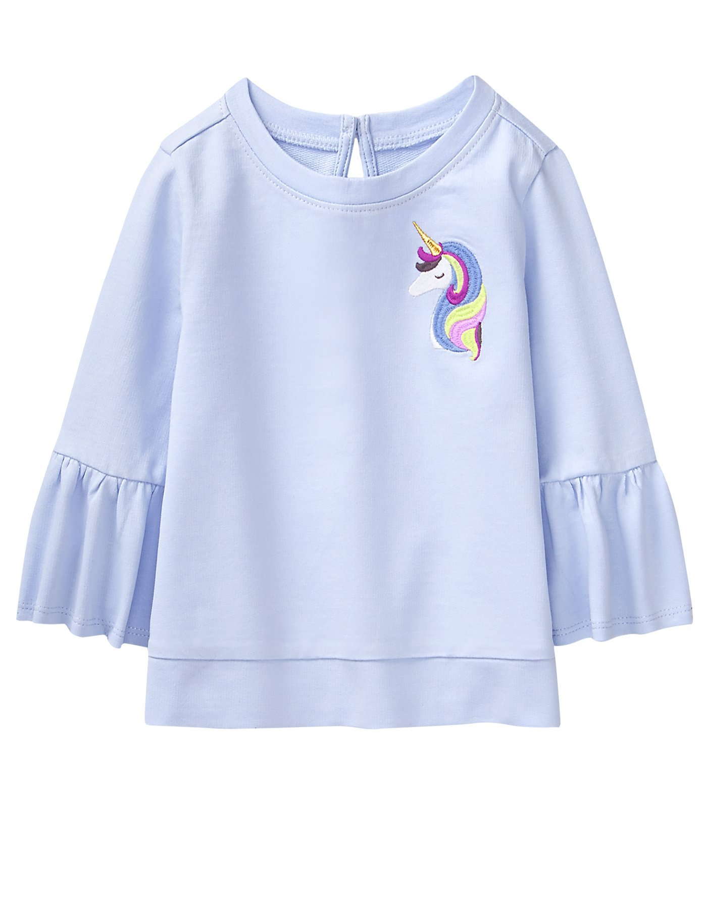 Crazy 8 Toddler Girls' 3/4 Bell Sleeve Pullover Top, Unicorn Purple, 18-24 Mo
