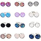8mm 12 Pairs pack Stainless Steel faux druzy Studs Earrings Round Earrings Set Hypoallergenic fit Women Girls (mixed color)