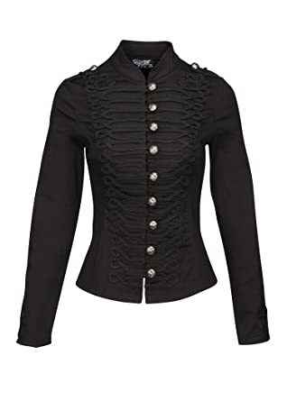 36edf5fa5b9 Amazon.com  Womens Black Military Look Steampunk Gothic Jacket with ...