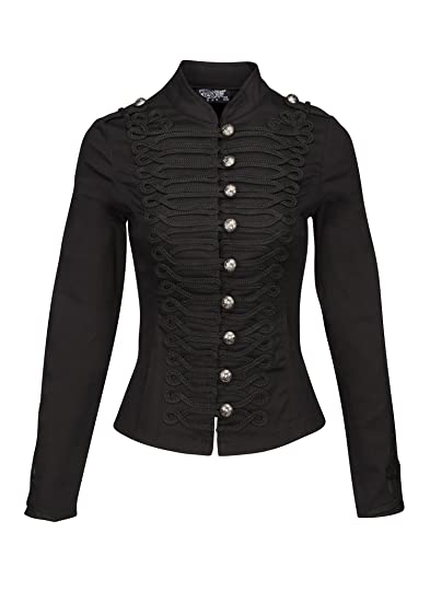 1e56138b Womens Black Military Look Steampunk Gothic Jacket with Buttons