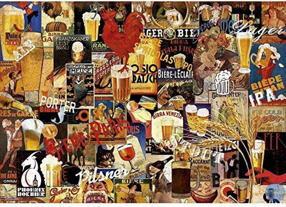 KKKKX punto de cruz Kit Vaso de cerveza 40x50 cm Bordado de kit de punto de cruz de arte DIY de, adecuado para principiantes para la decoración del hogar (lienzo preimpreso 14CT)