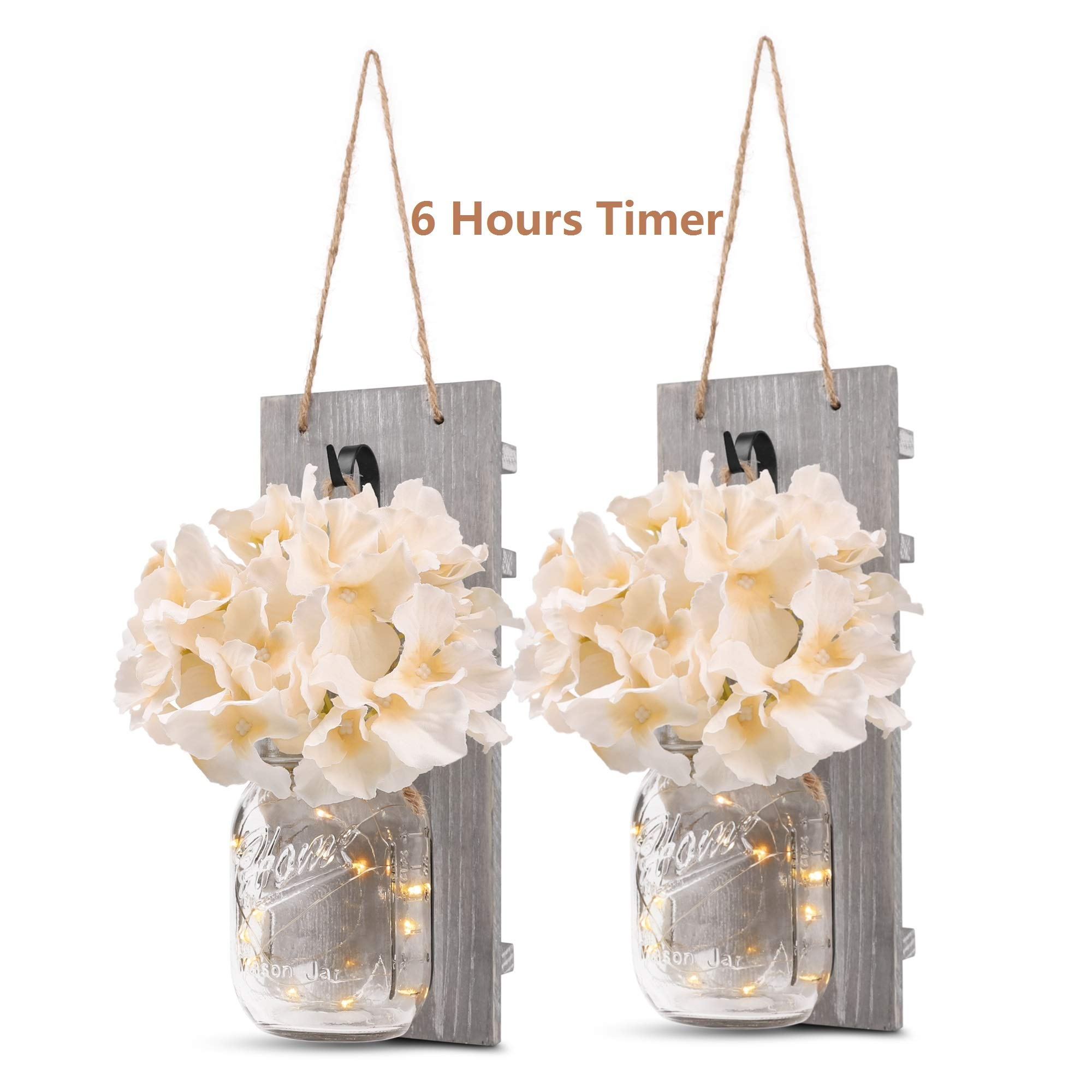 GBtroo Rustic Wall Sconces - Mason Jars Sconce, Rustic Home Decor,Wrought Iron Hooks, Silk Hydrangea and LED Strip Lights Design 6 Hour Timer Home Decoration (Set of 2) by GBtroo