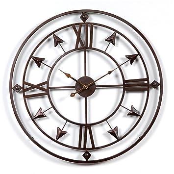 Lommer 60cm Métal Horloge Murale Geante Silencieuse Pendule Murales