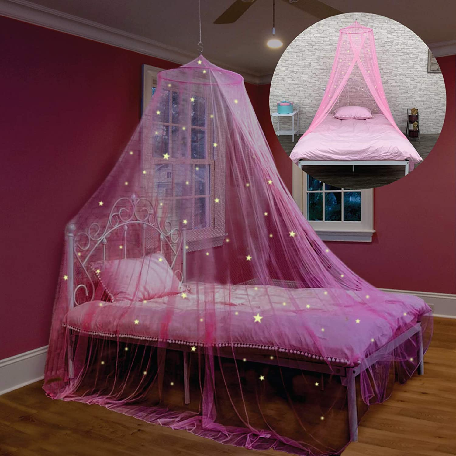 Bed Canopy with Glow in The Dark Stars for Girls, Kids and Babies, Anti Mosquito Net Use to Cover The Baby Crib, Kid Bed, Girls Bed Or Full Size Bed, Fire Retardant Fabric