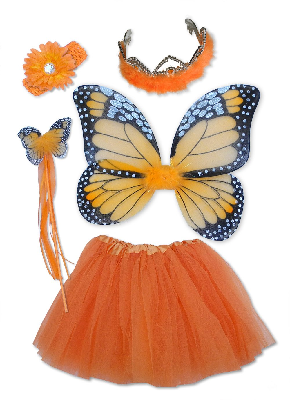 Fairy Costume 6 Pc Monarch Orange Butterfly Dressup & Princess Tiara