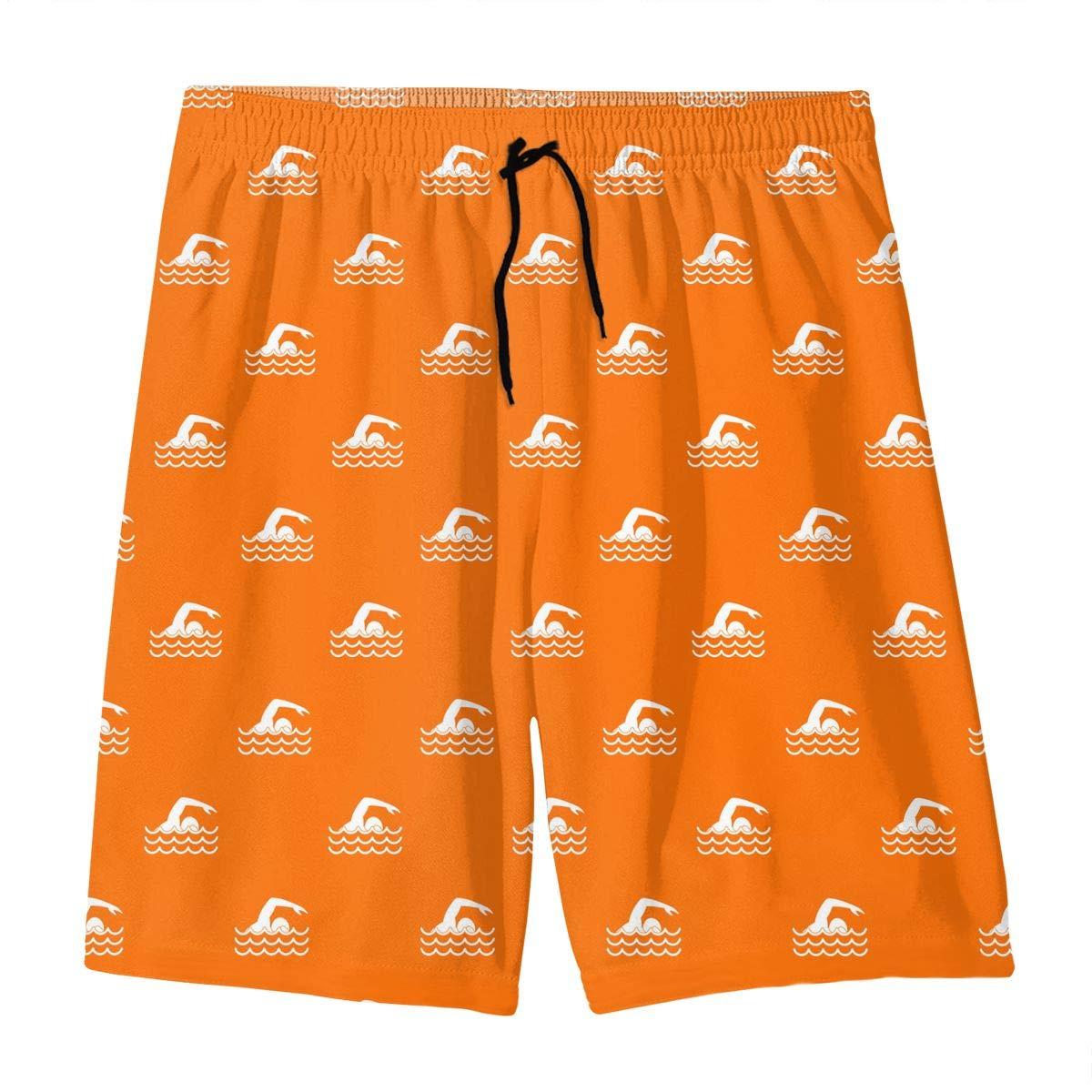 Polyester Swimmer Pattern Board Shorts with Pockets GI80@KU Youth Casual Swim Trunks