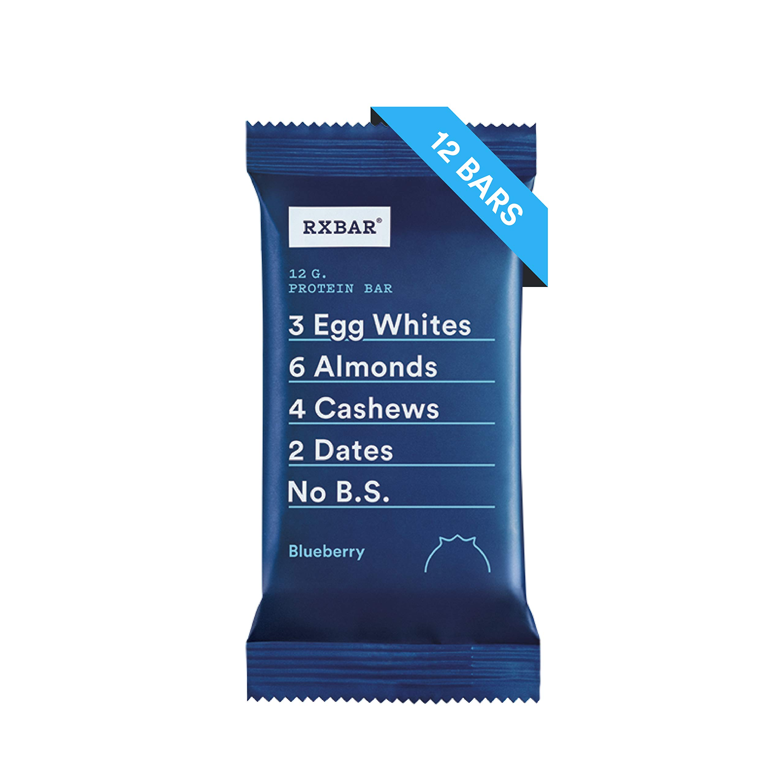 RXBAR, Blueberry, Protein Bar, 1.83 Ounce (Pack of 12) Breakfast Bar, High Protein Snack by RXBAR