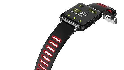 PRIXTON - Smartwatch/Reloj Inteligente con Pulsómetro, Monitor de sueño, Control Remoto de Cámara y Función Antipérdida, Color Rojo | SWB24