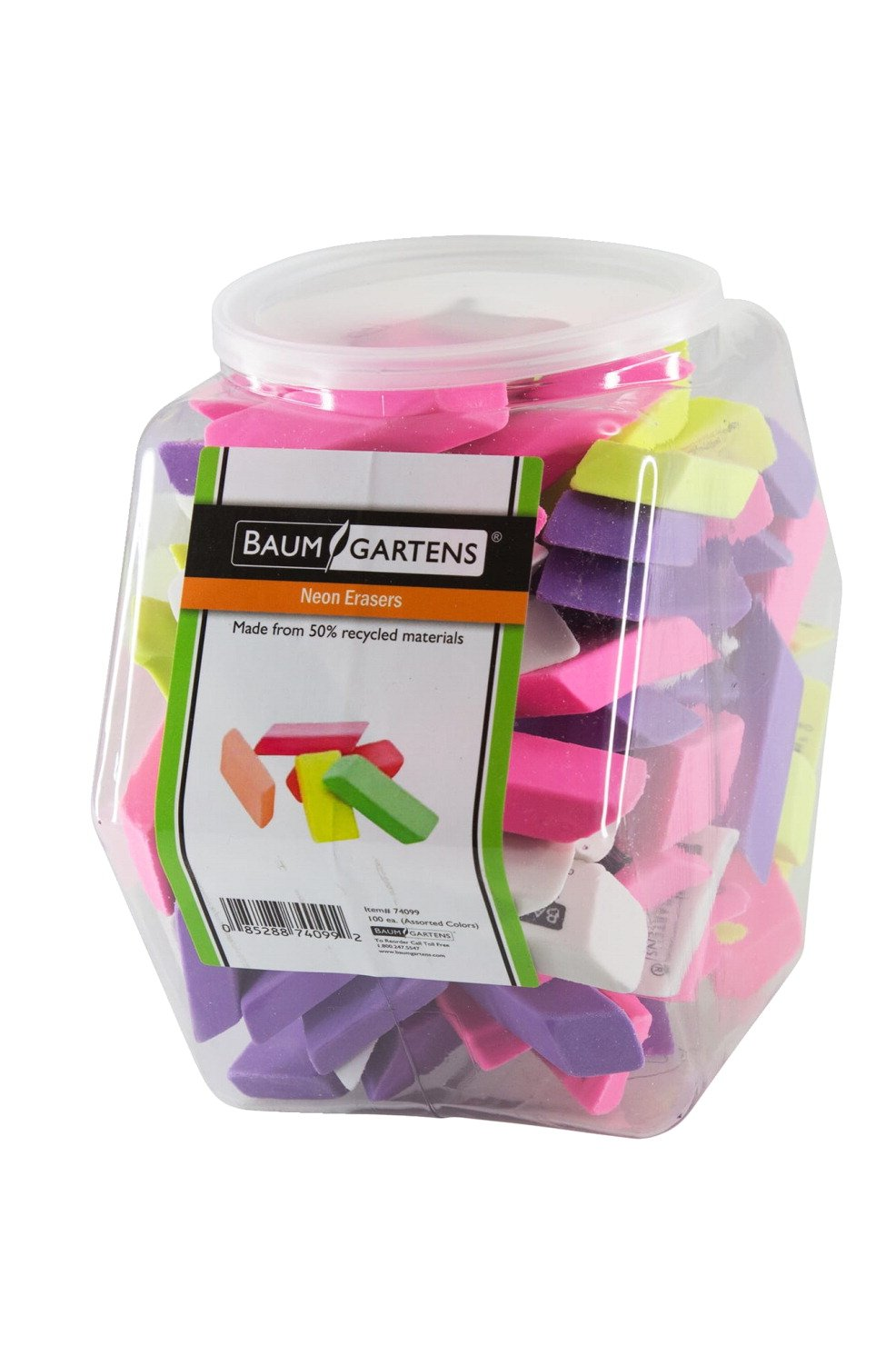 Baumgartens Latex-Free Lead-Free Pencil Eraser, Assorted Neon Color, Pack of 100