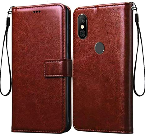 buy popular 8e10f 34d63 Tingtong Flip Cover Case for Xiaomi Mi Redmi Note 6 Pro | Premium Leather |  Inner TPU | Foldable Stand | Wallet Card Slots - Executive Brown
