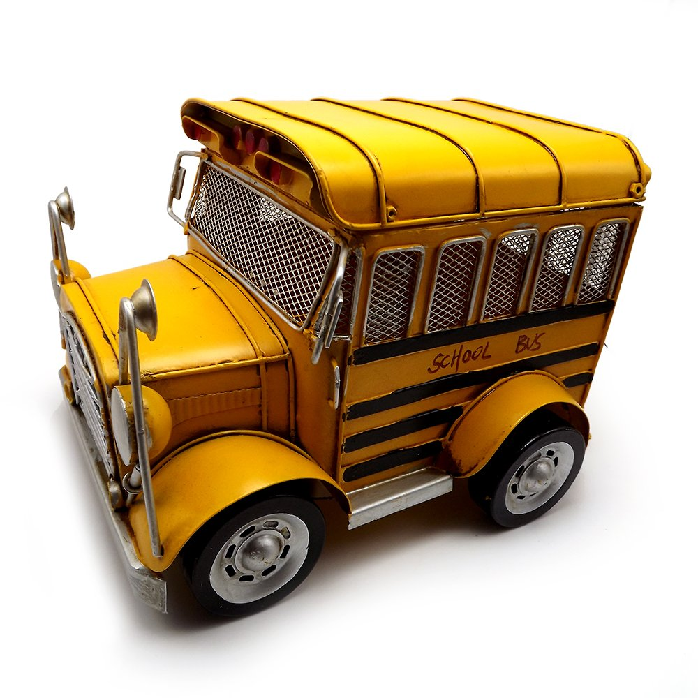 Escomdp Large Size Vintage School Bus,Home Décor, Kids' Room Decoration ,Handmade Collections Metal Vehicle Toy Model(Yellow)