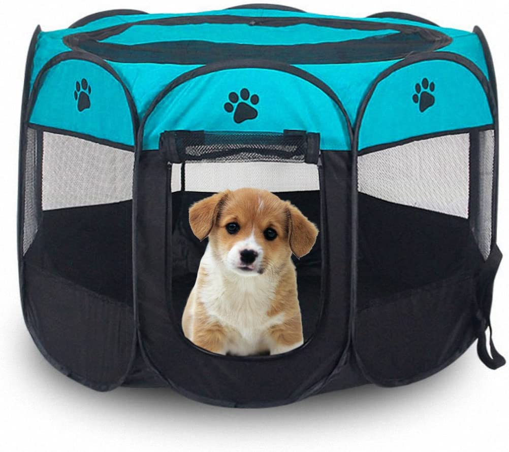 MiLuck Portable Outdoor Dog Playpen,Exercise 8-Panel Kennel Mesh Shade Cover Indoor Outdoor Tent Fence for Pet Dogs Cats S, Blue
