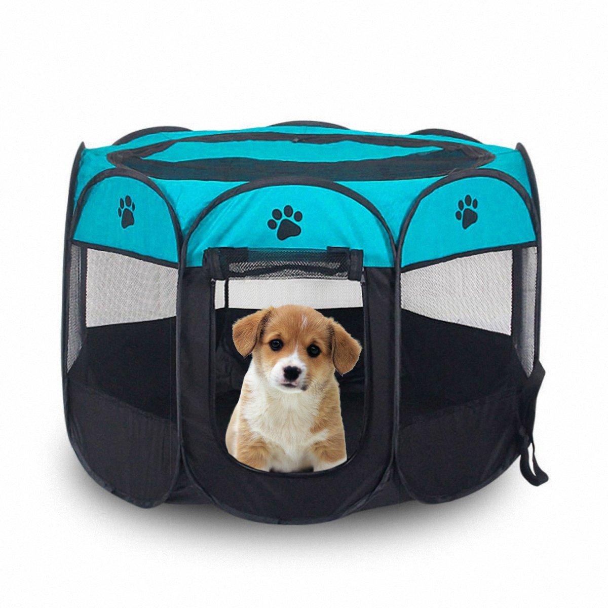 MiLuck Pet Portable Foldable Playpen, Exercice 8-Panneau Kennel Mesh Shade Cover Intérieur / extérieur Tente Clôture Pour Chiens Chats (L-Brown)