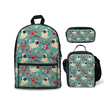 30697ff505a5 HUGS IDEA Flower Pug Printed Backpack Set Children School Book Bag Lunch  Boxes Pencil Case