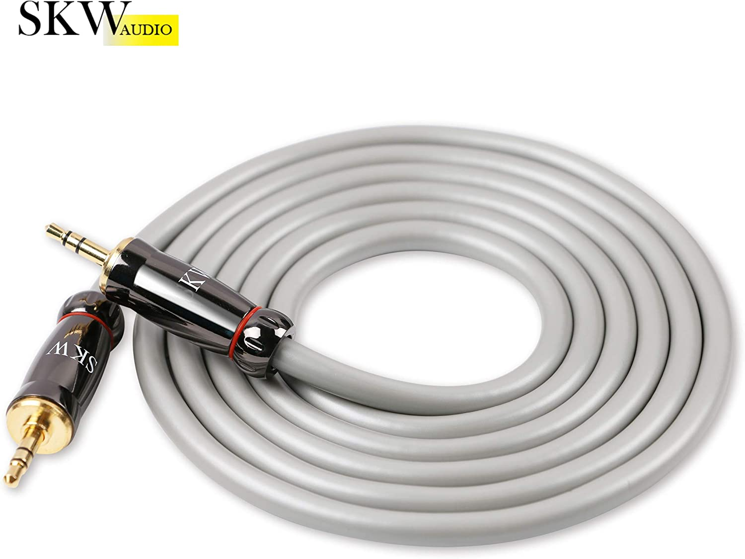 3.2ft//1M,Nylon SKW Audiophiles AUX Cable 3.5mm Male to Male with OD 6.8mm Stereo Audio Cable for Subwoofer,Home Theater and More