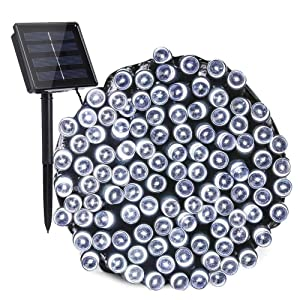 Toodour Solar Christmas Lights, 72ft 200 LED 8 Modes Solar String Lights, Waterproof Solar Fairy Lights for Xmas Tree, Garden, Patio, Home, Holiday, Party, Outdoor Christmas Decorations (White)