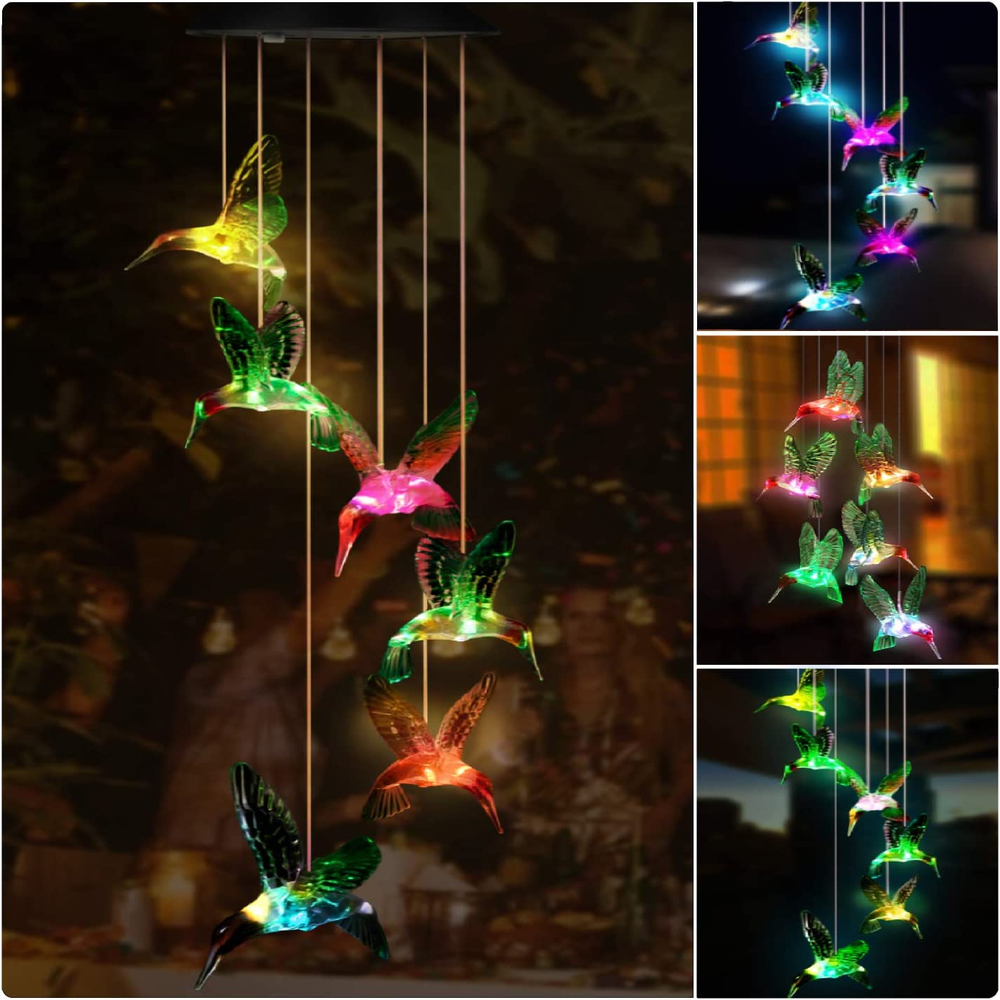 Kohree Solar Hummingbird Wind Chime, LED Color Changing Hummingbird Solar Lights Outdoor Hanging Solar Powered Wind Chimes Waterproof for Garden, Party, Thanksgiving, Festival Decor