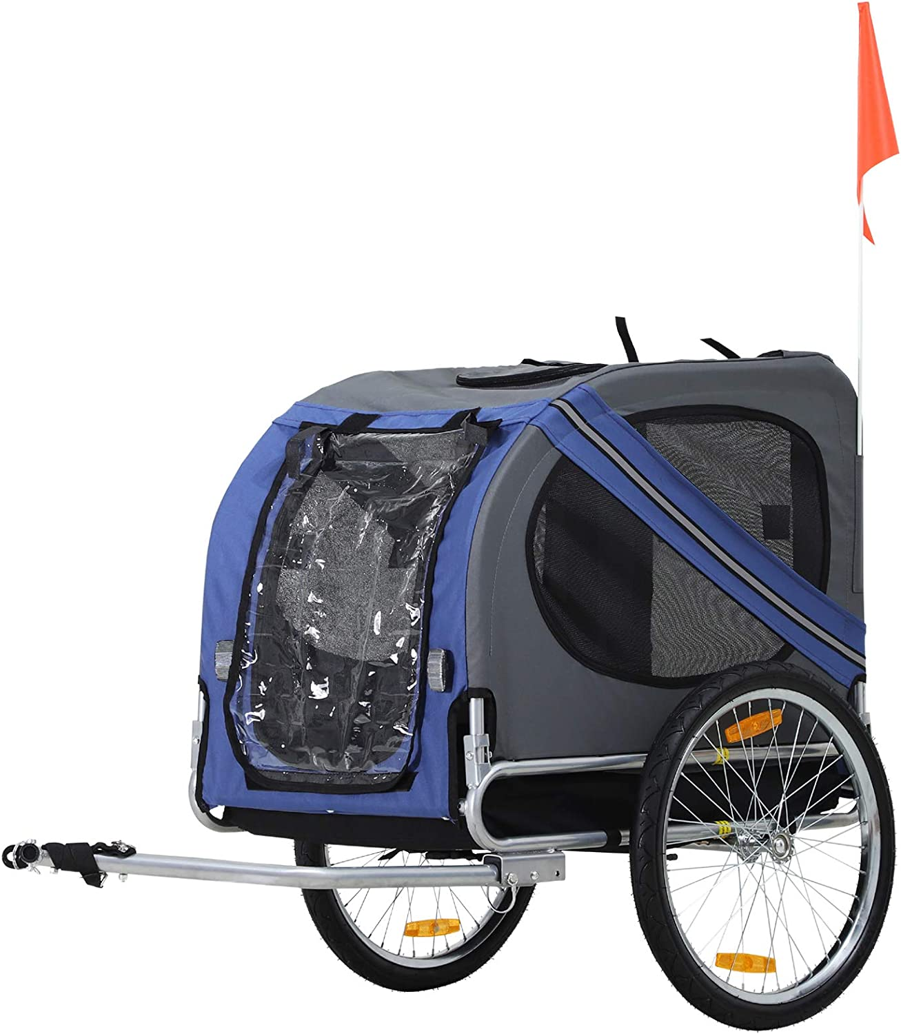 Aosom Bike Trailer Cargo Cart for Dogs and Pets with 3 Entrances Large Wheels for Off-Road & Mesh Screen