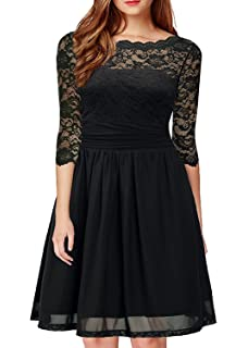 DILANNI Women s Vintage Formal Floral Lace 3 4 Sleeve Cocktail Party Tube  Dress bbb76029b