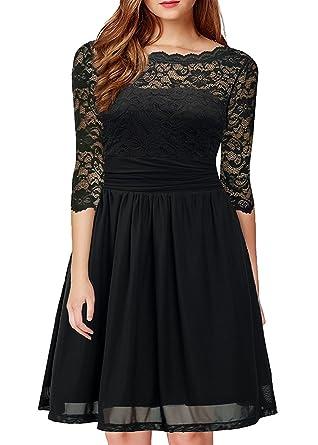 54da584fc4 Amazon.com  DILANNI Women s Vintage Formal Floral Lace 3 4 Sleeve ...