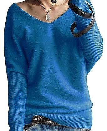 4fed3cd759b0 Shallgood Damen Mode Kaschmir Sexy Langen Ärmel V Ausschnitt Fledermaus  Flügel Herbst Und Winter Pullover Casual Lose Pulli  Amazon.de  Bekleidung