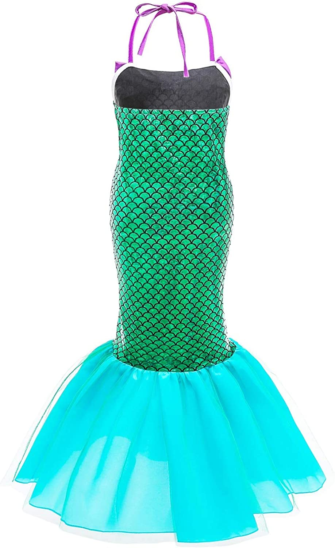 Le SSara Vestito da Cosplay per Ragazze con Sirena Principessa Ariel Costume Paillettes con Accessori per Bambini