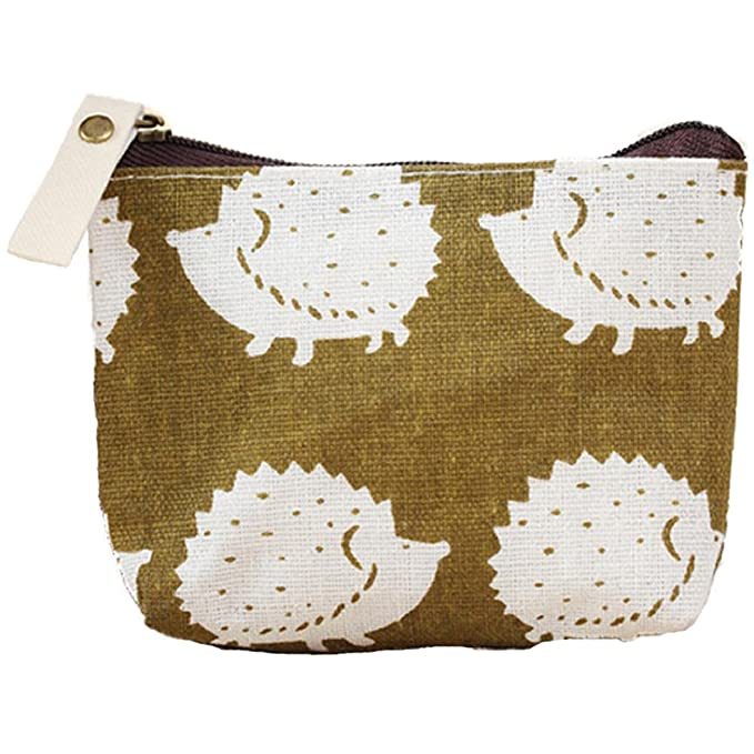 Polytree Printed Canvas Change Coin Purse Holder Zip Mini Wallet