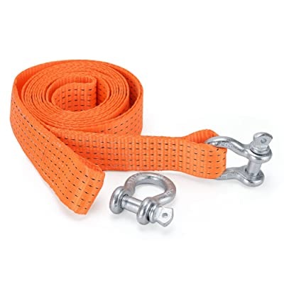 YITAMOTOR Recovery Tow Strap 2'' x 13' Heavy Duty 30,000 lbs Break Strength Tow Rope with Storage Bag and 2pcs D Ring Shackles Compatible with Vehicle Recovery, Hauling, Stump Removal & More: Automotive