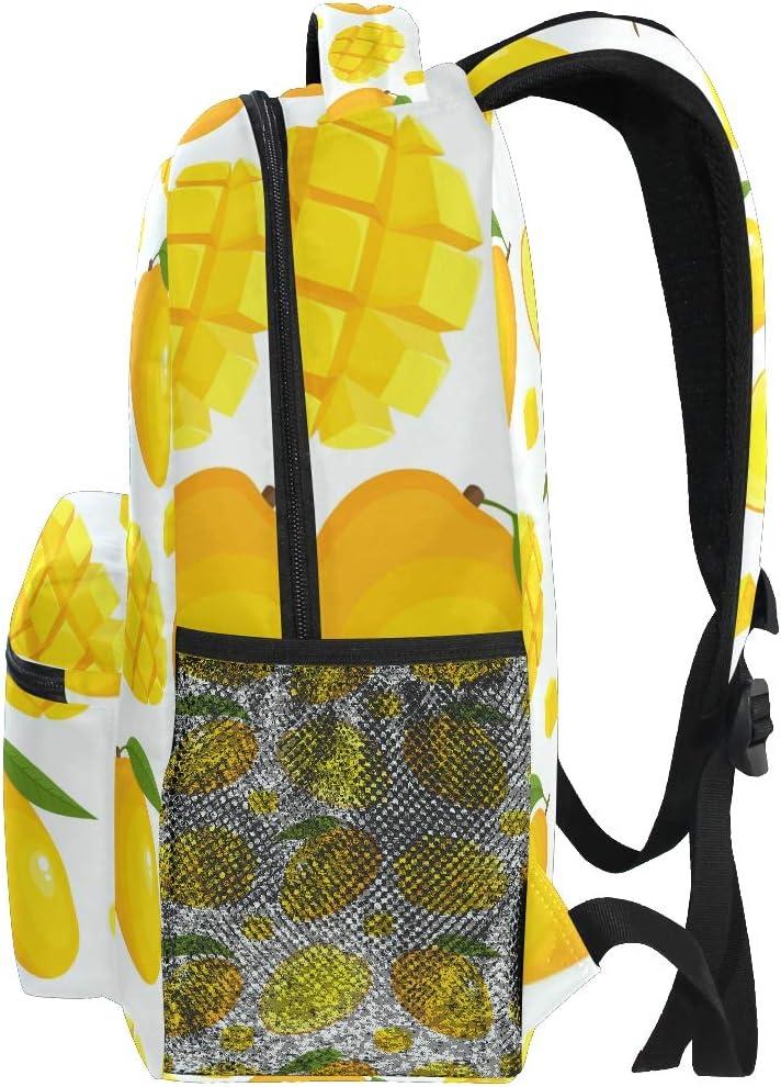 Laptop Backpack Lemon Tropical Fruit Pattern Yellow Large Capacity Bag Travel Daypack