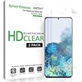 amFilm Galaxy S20 Screen Protector (2 Pack), Case Friendly (Fingerprint Scanner Compatible) HD Clear Flexible Elastic Skin TPU Film (Easy Installation) Screen Protector for Samsung Galaxy S20