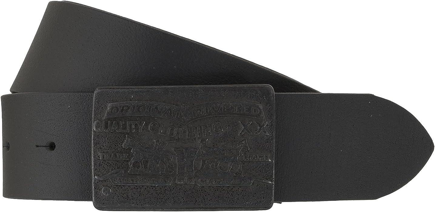 Correa de cuero de la correa de los hombres Levis hebilla con el logotipo  Negro - 5e2e1e0b56f