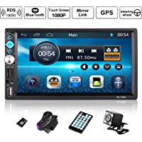Autoradio GPS Navigation, OUTAD Wince 7'' 1080P Touchscreen 2 DIN, Mirrorlink/Bluetooth Freisprecheinrichtung/7 LED Beleuchtungsfarbe/RDS, mit Fernbedienung/Rückkamera/Lenkradsteuerung/8G TF Karte