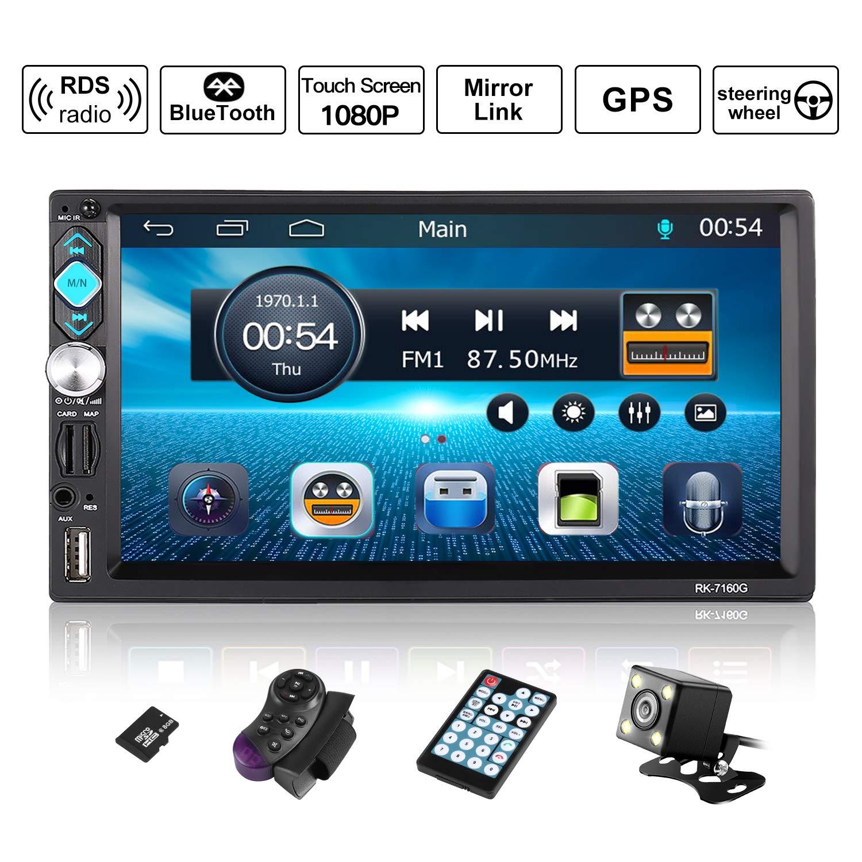 Autoradio GPS Navigation, OUTAD Wince 7'' 1080P Touchscreen 2 DIN, Mirrorlink/Bluetooth Freisprecheinrichtung/7 LED Beleuchtungsfarbe/RDS, mit Fernbedienung/Rückkamera/Lenkradsteuerung/8G TF Karte OUTAD Wince 7'' 1080P Touchscreen 2 DIN