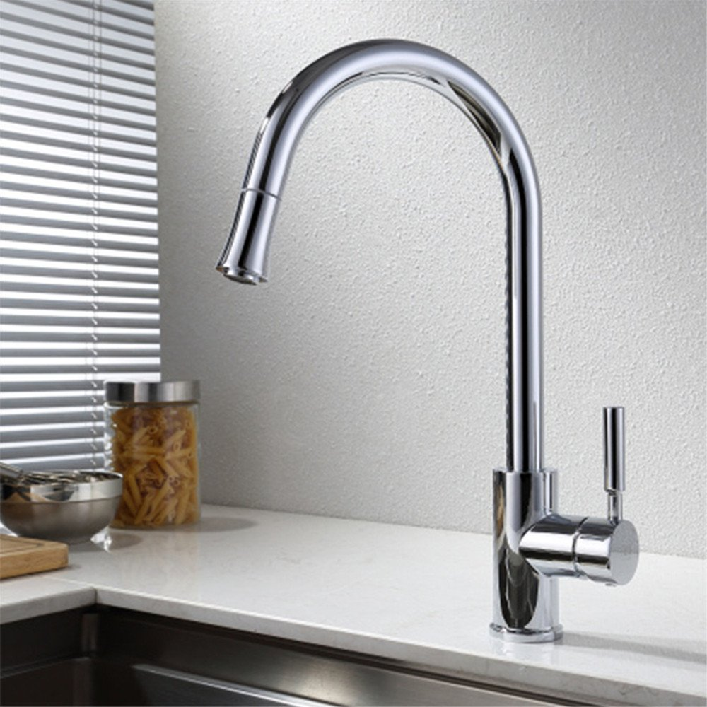 E The copper hot and cold faucet pull swivel kitchen faucet E