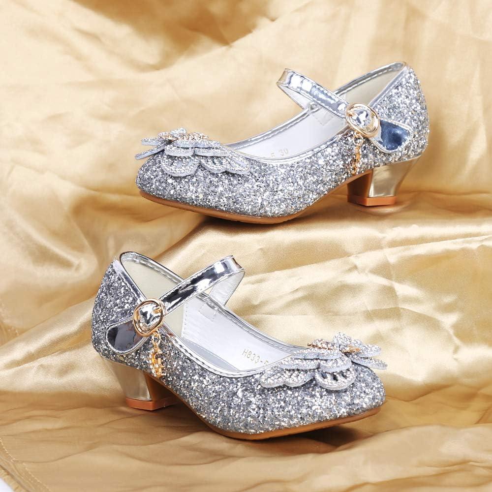 Mariage Cosplay Princesse sorliva Chaussures de f/ête /à Paillettes pour Filles Talon Bas Bout Rond pour Ballet Danse