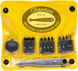 product image for Chapman MFG 1313 Allen Hex Screwdriver Bit Set - 13 Pieces - Includes USA Made Spinner & Ratchet Hand Tools, Soft Vinyl Case, Pocket Size Pack