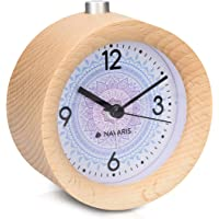 Navaris Despertador de Madera analógico - Reloj Redondo