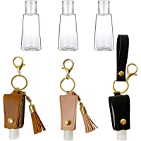 Leather Holder Keychain-Portable Hand Sanitizer Holder-Reusable Travel Size Bottles-Empty Leakproof Refillable Squeeze…