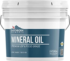 Mineral Oil (1 Gallon) by Earthborn Elements, Resealable Bucket, Food & USP Grade, For Cutting Boards, Butcher Blocks, Counter Tops, Wooden Utensil