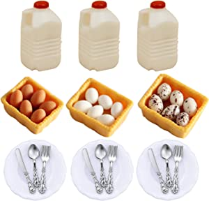G0lden&Mang0 36Pcs Dollhouse Decor Kitchen Accessories,1:12 Scale 3Pcs Dollhouse Milk Bottle, 3Pcs Boxed Egg Model, 3Pcs Plate and 9Pcs Knife Fork Spoon for Kids Gift