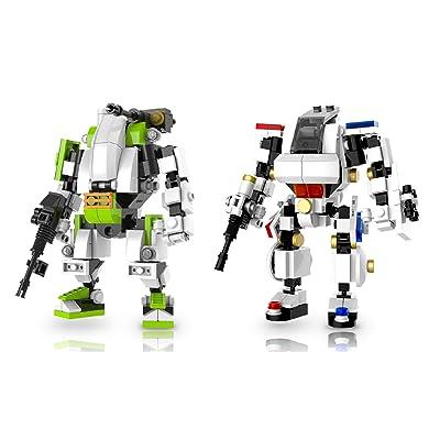Cool Beans Boutique Set of 2 Kits - Mecha Frame Robot Mech Building Bricks Set (5009 + 5013): Toys & Games