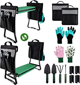 Garden Kneeler and Seat, Foldable Gardening Stool Portable EVA Foam Pad Outdoor for Gardening with 2 Tool Pouches /4 Tool Accessorie/2 Pair of Gloves, Large-23.6
