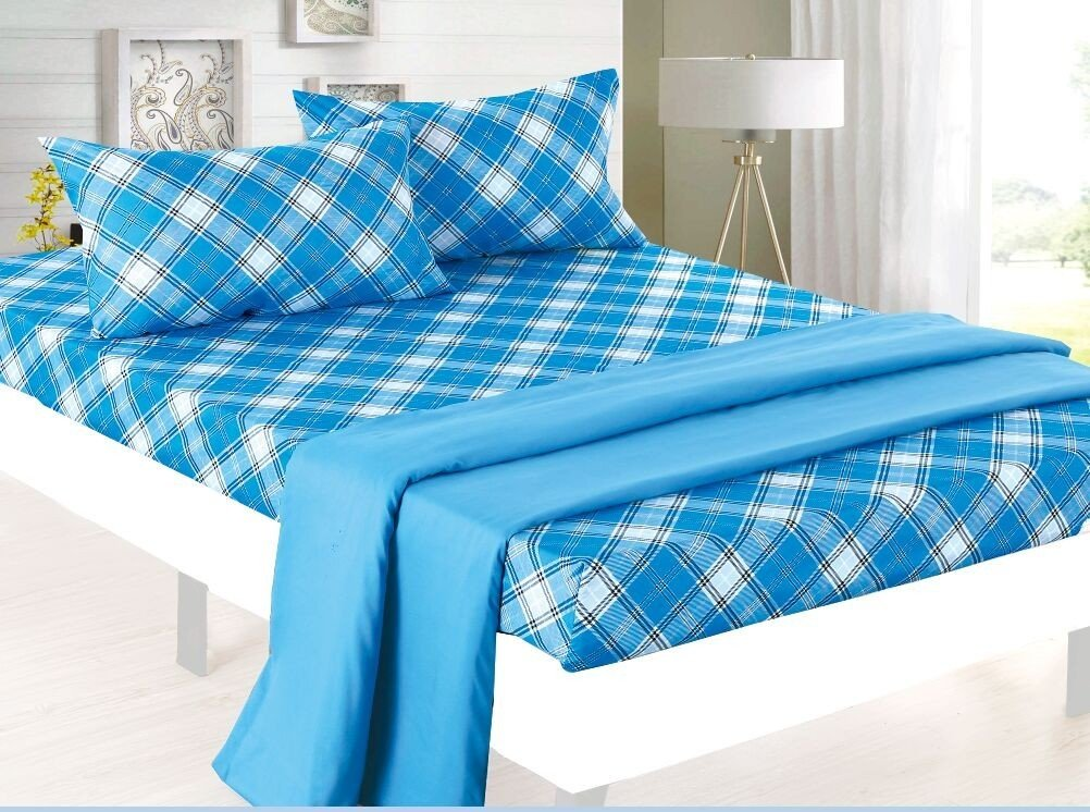 Blue Plaid with Coordinating Blue Flat Sheet - Clara Clark
