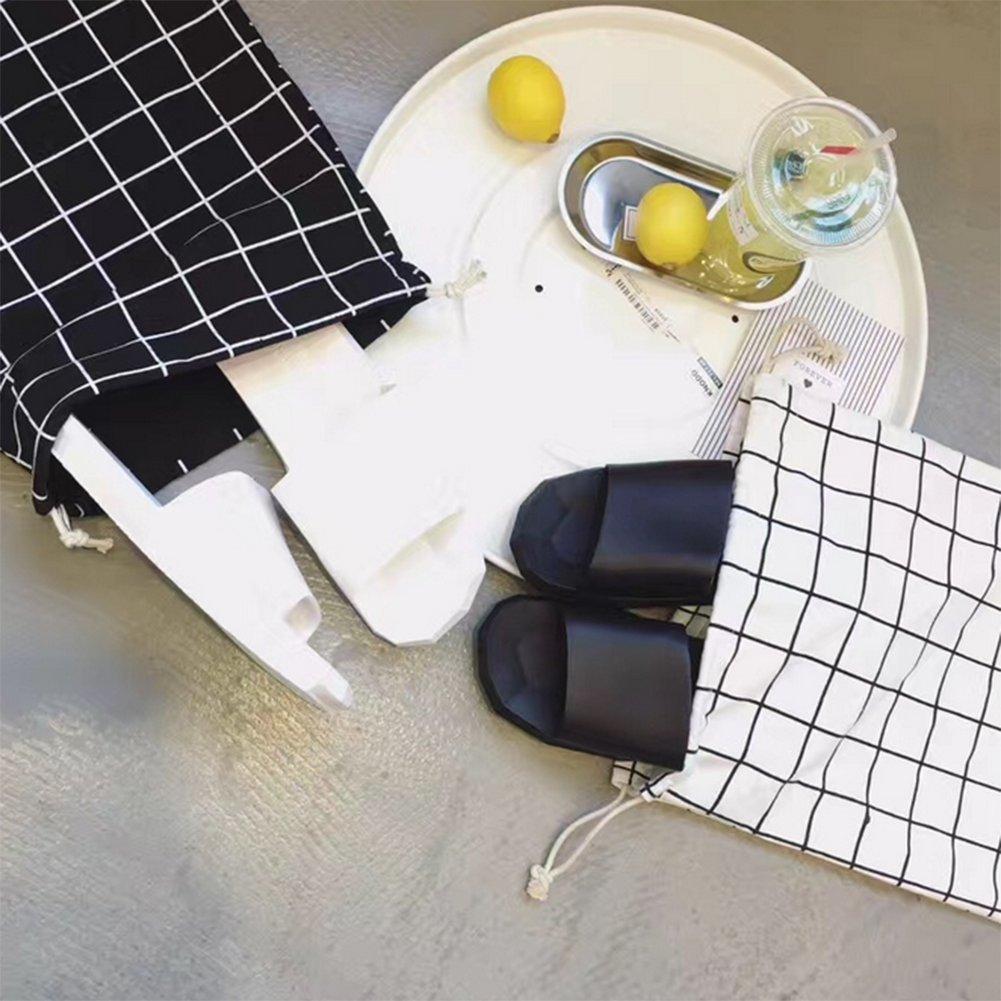 Namgiy 3/X Cordon de Serrage Coton Sacs de Voyage Sacs /à Chaussures Pochette Essential Stuff /à la Poussi/ère Sacs Organiseur de Poche de Rangement pour V/êtements de Voyage Home Black Lattice
