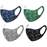 Unisex Paisley Bandana Mouth Face Protective Covering Fashion Balaclavas Fabric Washable Reusable Breathable (4, Blue, Green, Gray & Black)