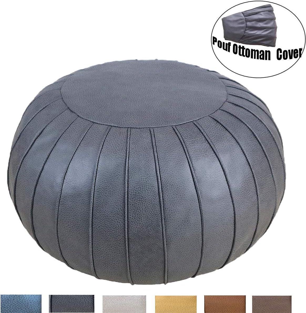 Thgonwid Unstuffed Suede Pouf Footstool Ottoman Handmade Faux Leather Poufs 23